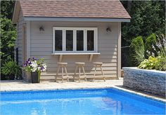 Build a bar into the side of your pool house where family for A perfect image salon chesterfield mo