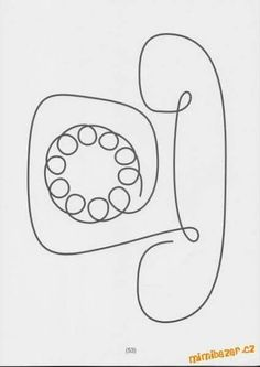Old fashion telephone Single Line Drawing, Basic Drawing, Drawing For Kids, Longarm Quilting, Free Motion Quilting, Machine Quilting, Doodle Drawings, Easy Drawings, Stencil Painting