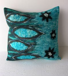 20 x 20 NUNO felted decorative accent pillow- wool silk linen- embroidered- throw pillow- turquoise- chocolate brown. on Etsy, $82.00