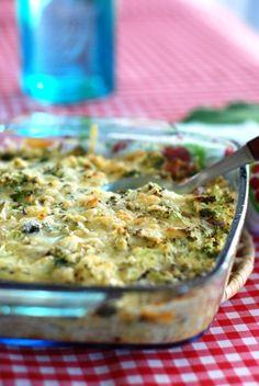 Bócolis e frango gratinados.