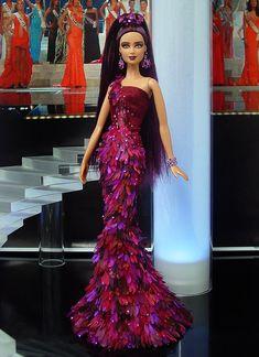 Barbie, Miss American Samoa 2013 by Ninimomo Dolls Barbie Gowns, Pageant Gowns, Barbie Clothes, Disney Jasmine, Beautiful Barbie Dolls, Vintage Barbie Dolls, Barbie Miss, Black Barbie, Barbie Collector