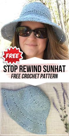 crochet Stop Rewind Sunhat free pattern - easy crochet sunhat pattern for beginners Crochet Baby Sweaters, Crochet Baby Cardigan, Knit Or Crochet, Crochet Clothes, Easy Crochet, Crochet Hats, Tunisian Crochet, Crochet Granny, Crochet Hat With Brim