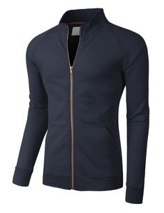 This lightweight sports zip up jacket is perfect for casual or activewear. Whether you are running errands or hitting the gym, this jacket will provide warmth while still keeping you comfortable. Goes also perfectly with jeans or shorts. Feature - 75% Cotton / 25% Polyester - Lightweight, durable material for all day comfort / Soft inner fleece fabric for warmth - Double stitching on cuffs and bottom hem / Full zip-up closure with contrast dark gray trim / Stand collar - Ribbed on cuffs and…