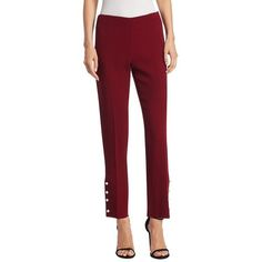 Lela Rose Wool Pearl Pants (17.300 CZK) ❤ liked on Polyvore featuring pants, wool pants, red trousers, wool trousers, woolen pants and lela rose pants