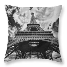 Pencil Throw Pillow featuring the drawing Eiffel Tower by Michal Straska