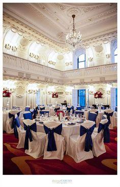 Blackstone Ballroom. Colbalt Blue, Fuschia, and Deep Purple  Blackstone Hotel Wedding. Deonna Caruso Photography. Sweetchic Events. Flor Del Monte. .