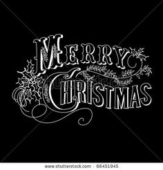 stock vector : Black and White Christmas Card. Merry Christmas lettering