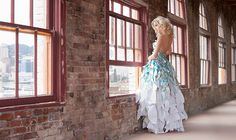 Blue and white paper dress
