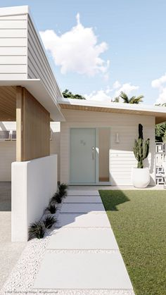 Small House Exteriors, Dream House Exterior, Beach Bungalow Exterior, House Siding, Facade House, Yard Design, House Design, Palm Springs Houses, Bungalow Renovation