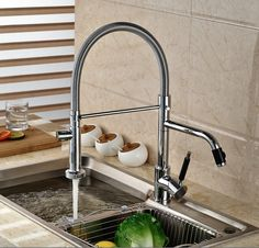 71.98$  Watch here - http://aliti3.worldwells.pw/go.php?t=32522388902 - Luxury Dual Spout Pull Down Side Sprayer Kitchen Sink Faucet Deck Mount Hot Cold Kitchen Water Taps 71.98$