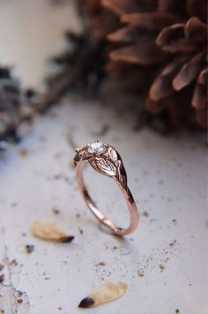 Rose gold custom engagement ring with diamond