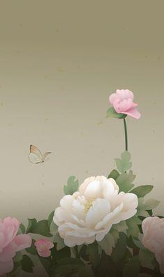 白とピンクの花と蝶のiPhone壁紙 | 壁紙キングダム スマホ版