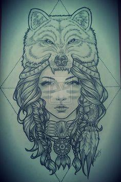 Headdress+Tattoo   wolf headdress