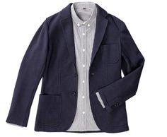 Cotton-poly knit blazer with jersey lining by Muji. This dressed-up sweatshirt looks like perfect winter wear for balmy FL.