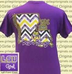 Girlie Girl LSU T-Shirt State Chevron Girlie Girl Teaching Dreams $15.99 sizes S-M www.kidsbdazzled.com