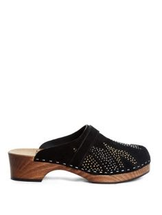 Stud-embellished suede clogs | Saint Laurent | MATCHESFASHION.COM
