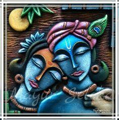 Krishna Painting, Krishna Art, Clay Wall Art, Clay Art, Mural Painting, Mural Art, Kalamkari Painting, Art Drawings Beautiful, Indian Folk Art