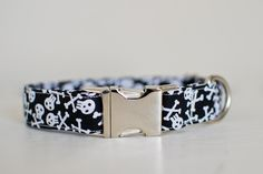 Dog Collar-Large Dog Collar-Skull Dog Collar-Pirate Dog Collar-Male Dog Collar-Dog Collar With Skulls-Black Dog Collar-Skull Puppy Collar by SLWdesignsCo on Etsy