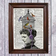 Birds. Music. Sound. Collage.Vintage .Print.Digital Print.  No. CODE 014 by SaturnPrint on Etsy