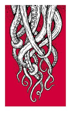 Octopus tentacle drawing negative space pop of color Octopus Drawing, Octopus Sketch, Squid Drawing, Octopus Artwork, Octopus Painting, Octopus Print, Illustration Art, Illustrations, Octopus Tattoos