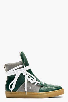 KRISVANASSCHE Green Leather Overlong Laces High-top Sneakers for men | SSENSE