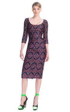 Metallic Scoop Neck Sheath Dress by Prabal Gurung for Preorder on Moda Operandi