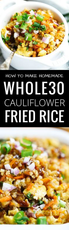 This Cauliflower Fried Rice is the perfect addition to your meal plan. Easy to make, healthy and delicious to eat! This Paleo Cauliflower Fried Rice is the perfect addition to your meal plan. Easy to make, healthy and delicious to eat! Whole 30 Meal Plan, Whole 30 Diet, Paleo Whole 30, Whole 30 Recipes, Whole 30 Meals, Healthy Recipes, Clean Eating Recipes, Real Food Recipes, Vegetarian Recipes