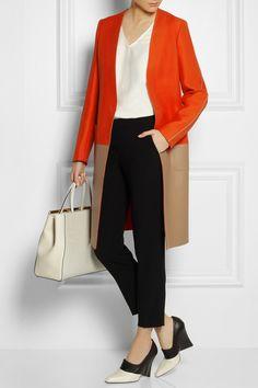 Fendi|Wool-blend and leather coat| Fendi | Open-sleeve silk-blend top | Etro | Cropped stretch-crepe straight-leg pants | Stella McCartney | Two-tone faux leather pumps | Fendi | 2Jours medium textured leather shopper |