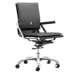 With its ergonomic shape, padded back and seat cushions, the Lider Plus office chair works in comfort. It has a chromed steel frame with soft neoprene arm pads, a locking tilt adjustment, and rolling base. DISCLAIMER: Zuo Modern Contemporary, Inc. is not affiliated with Herman Miller, Inc. and its products are not affiliated with Eames Aluminum Group or Softpad products. #ergonomicofficechairmodern