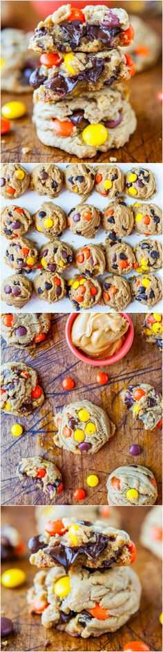 Not a fan of peanut butter cookies but mmmm these look delicious! Reese's Pieces Soft Peanut Butter Cookies - Peanut butter lovers' will go nuts for these super soft cookies loaded with Reese's Pieces & chocolate! Köstliche Desserts, Delicious Desserts, Dessert Recipes, Yummy Food, Tasty, Soft Peanut Butter Cookies, Yummy Cookies, Reese's Cookies, Reese's Pieces Cookies