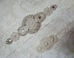 Wedding Garter Set  Vintage Ivory Lace Garter with by KazzyKouture, $27.99