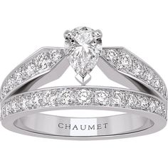 CHAUMET Joséphine 18ct white-gold and diamond tiara ring ($11,945) ❤ liked on Polyvore featuring jewelry, rings, pave diamond jewelry, pear ring, pave jewelry, white gold jewelry and white gold diamond rings
