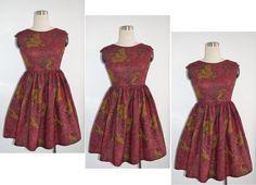 NEW African wax print dark red dress. Holland Dutch wax by Rahyma