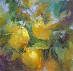 Lemon Trio by Mary Maxam Oil ~ 8 x 8