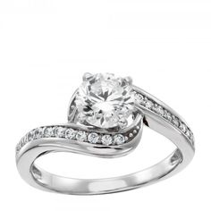 Swirl Engagement Ring ❤ the dream  Center stone is available in a variety of carat weights; choose yours from the menu above. Complete the look with the matching Whitney band. Order additional services like a personal engraving or an appraisal for $25 each. Contact customer service for details at 1.800.509.4990. Shown in 14k gold; call customer service for an upgrade to 18k, palladium, or platinum. Product Model: LRENSA0042