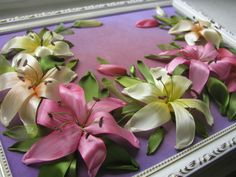 Pink and yellow lilies #ribbonEmbroidery