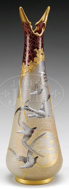 Mt Washington Royal Flemish Vase Decorated with Sea Gulls - Birds Mouth Top - Rich Burgundy and Gold - 12 1/2 inch HOA