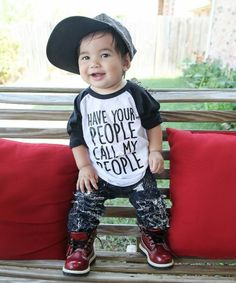 """For no particular reason, I just thought this would be a super funny & cute quote to put on a children's t shirt! It reads, """"Have your people call my people™"""", for all of those busy tots that don't have the time to handle their own business dealings ;) LOL. This gender neutral baby, toddler, & kids boy or girl shirt makes an excellent gift for any child in your life. I am a huge fan of inspirational and funny quotes and I express that through my clothing that I design."""