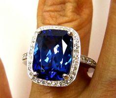 GIA Vintage Estate 6.10ct Cushion Cut TANZANITE Diamond Deep AAA Violetish Blue White Gold Ring