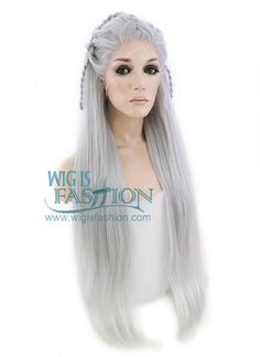 "28"" Long Yaki Silver Grey Braided Lace Front Synthetic Hair Wig LF2009"