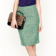 "J. Crew No. 2 pencil skirt in Caribbean Tweed Classic and flattering J. Crew pencil skirt, size 6.  In excellent, very lightly worn condition! Crafted from a lightweight tweed in a fresh green shade, the basket weave texture shows off a mix of tropical hues. Coin pocket at the waist. Sits at waist. Back zip, back welt pocket. Fully lined. Lying flat the waist measures 15.5"" across. 21.5"" long. Summer 2012 collection, style # 78129 J. Crew Skirts Pencil"