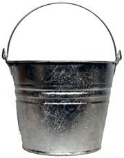 galvanized bucket..and I know from another tutorial I read that you can spray bleach on these to weather them! :)