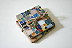 Stained Glass Mosaic Coasters Set of 2 Glass by earthmothermosaics