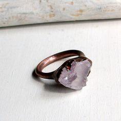 Copper Ring Lavendar Gem