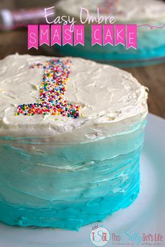 Easy Ombre Smash Cake, step by step tutorial for ombre frosting! Easier than you think. #GetYourBettyOn #ad