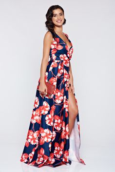"""Artista darkblue long cloche dress with floral print, back zipper fastening, """"V"""" cleavage, floral prints, satin fabric texture Fabric Textures, Satin Fabric, Dark Blue, Most Beautiful, Floral Prints, Zipper, Autumn, School, Skirts"""
