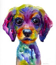 Colorful Whimsical Daschund Dog Puppy Art Painting  - by Svetlana Novikova