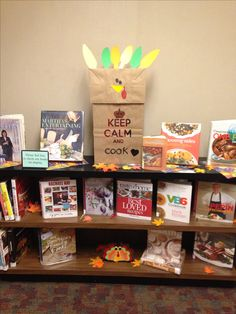 """Thanksgiving Book Display at Public Library. """"Keep Calm and Cook""""."""