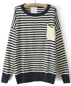 Black White Striped Long Sleeve Pocket Sweater EUR€23.83