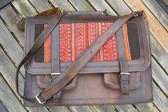 RESERVED UNTILL 5/25 Vintage Leather Messenger Bag With Tribal Blanket Inlay